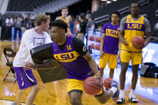 LSU guard Marlon Taylor drives with the ball during practice Thursday, ahead of the Tigers' game Friday against Michigan State.