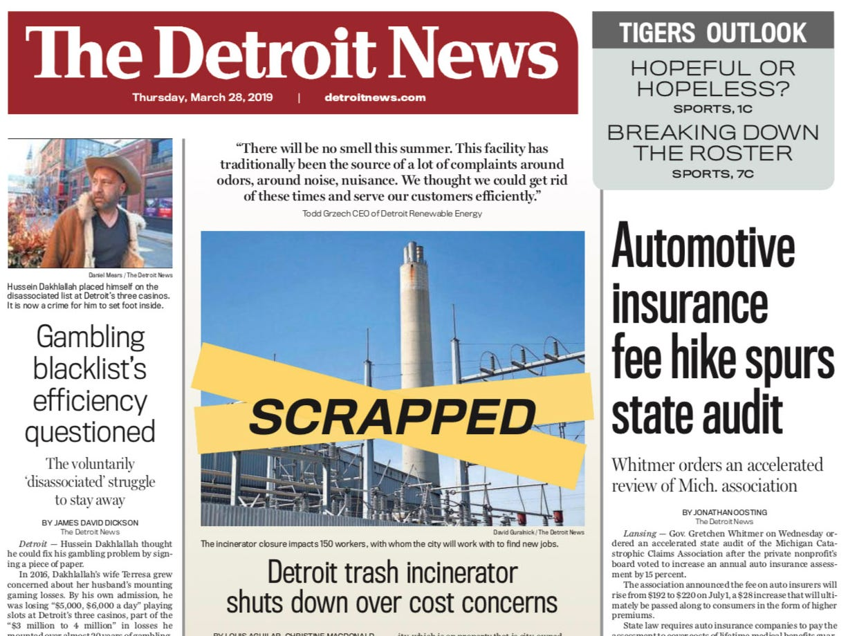 The front page of the Detroit News on Thursday, March 28, 2019