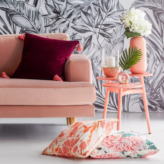 The new Drew Barrymore Flower Home collection, which debuted Thursday, is infused with pink and coral hues. Inspired by the actress's life and travels, it's available at Walmart.com, Hayneedle.com, and Jet.com.