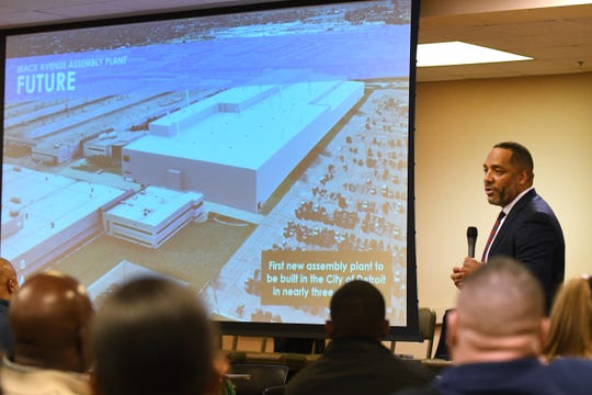 Ron Stallworth, with FCA's external affairs, on Wednesday discusses plans for the proposed plant construction at the Mack Avenue Assembly plant in Detroit.