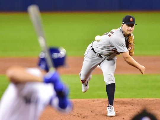 Detroit Tigers starting pitcher Jordan Zimmermann works against the Toronto Blue Jays during the first inning  Thursday.