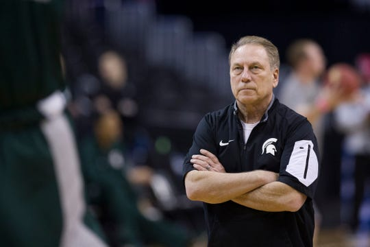 Tom Izzo watches Michigan State's practice Thursday in Washington.