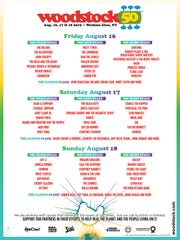 Woodstock poster featuring the stage breakdown.