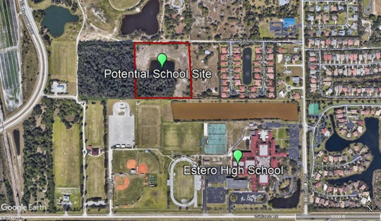 The Lee County school district is planning to build a K-8 school or elementary and middle schools on land in Estero.