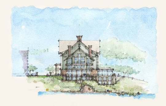 A rendering of the 187-room Grand Bohemian Hotel looking from the Main Street side landing of the Liberty Bridge east across the Reedy River as of March 29, 2019.