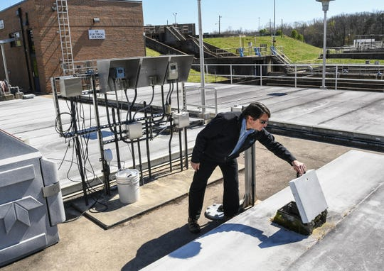 Larry Camp, compliance and training leader, looks over final processes of sewage near the UV electrical building at Renewable Water Resources (ReWa) in Greenville Wednesday. Powdersville in Anderson County could be added to ReWa in a pending deal.