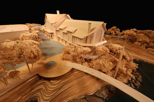 A wood model offering a 3D view of the 187-room Grand Bohemian Hotel looking down from above Reedy River Falls as of March 29, 2019.