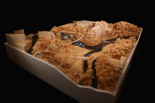 A wood model offering a 3D view of the 187-room Grand Bohemian Hotel looking down over the entirety of Falls Park as of March 29, 2019.