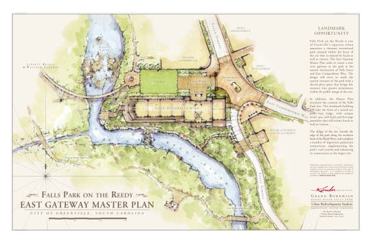 A rendering of the footprint of the Grand Bohemian Hotel  that includes a civic lawn and brick-paved Falls Street.