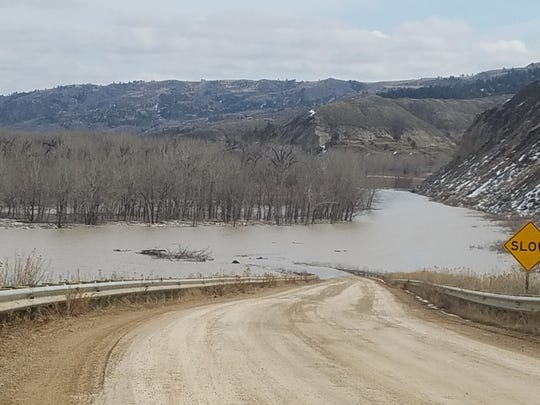 The road into the James Kipp Recreation Area on the Missouri River is flooded due to an ice jam.