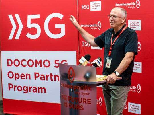 Docomo Pacific President and CEO Roderick Boss addresses those in attendance during a press conference held for the launch of the company's 5G Open Partner Program Lab in Tamuning on Wednesday, March 27, 2019.