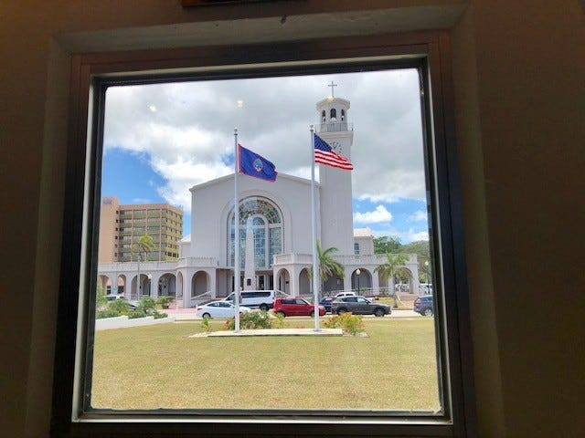 The Dulce Nombre de Maria Cathedral Basilica in Hagåtña as seen on March 27, 2019 from one of the windows of the Guam Congress Building's session hall.