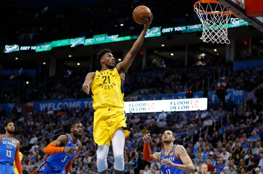 Mar 27, 2019; Oklahoma City, OK, USA; Indiana Pacers forward Thaddeus Young (21) goes to the basket against the Oklahoma City Thunder during the first half at Chesapeake Energy Arena. Mandatory Credit: Alonzo Adams-USA TODAY Sports