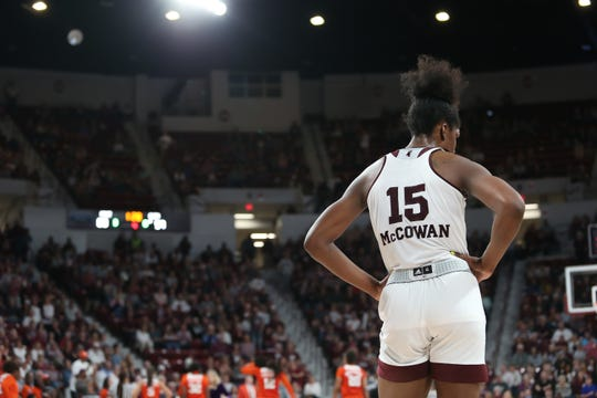 Mississippi State's Teaira McCowan (15) looks on during her final game at Humphrey Coliseum. The Bulldogs beat Clemson in the second round of the NCAA Tournament to advance to a fourth-straight Sweet 16. Photo by Keith Warren