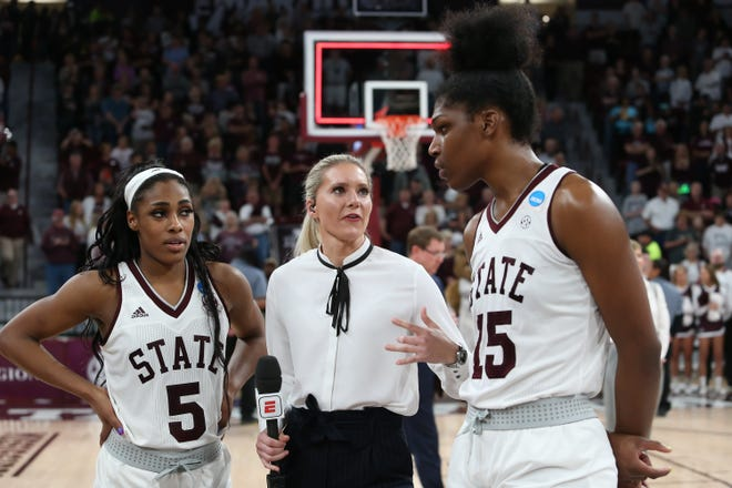 Mississippi State's Anriel Howard (5) and Mississippi State's Teaira McCowan (15) wait for a television interview following the game the Bulldogs win over Clemson in the second round of the NCAA Tournament. Photo by Keith Warren