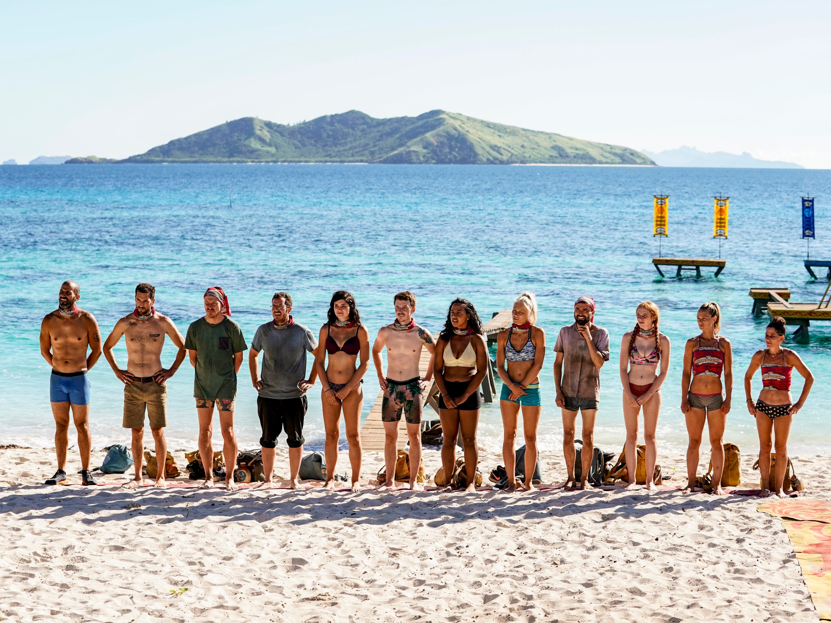 "From left are Dan ""Wardog"" Dasilva, Eric Hafemann, Ron Clark, Rick Devens, Lauren O\'Connell, Gavin Whitson, Julia Carter, Kelly Wentworth, David Wright, Victoria Baamonde, Aurora McCreary and Julie Rosenberg on ""Survivor: Edge of Extinction."""