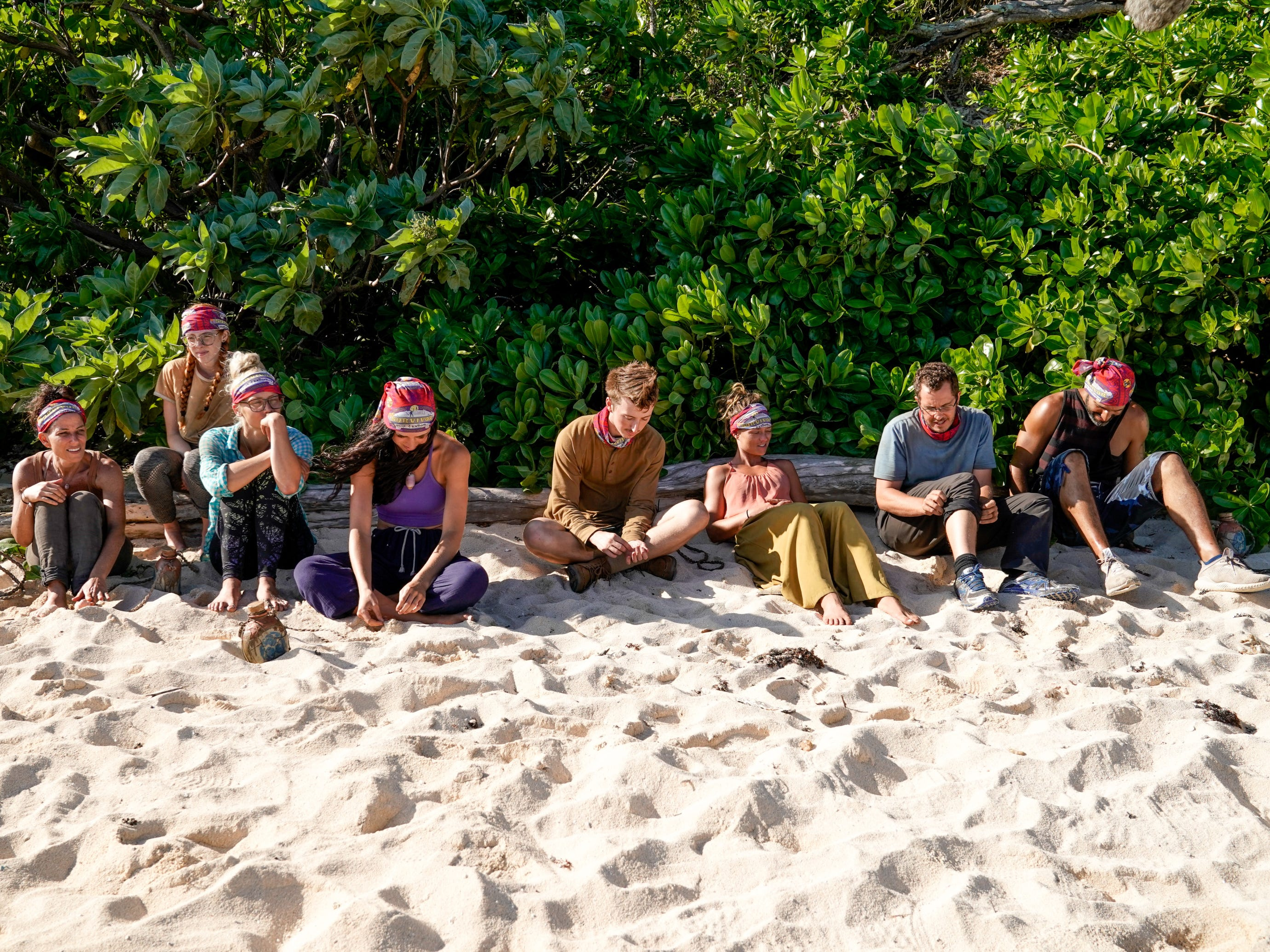 "From left are Julie Rosenberg, Victoria Baamonde, Kelly Wentworth, Lauren O'Connell, Gavin Whitson, Aurora McCreary, Rick Devens and Dan ""Wardog"" Dasilva on ""Survivor: Edge of Extinction."""