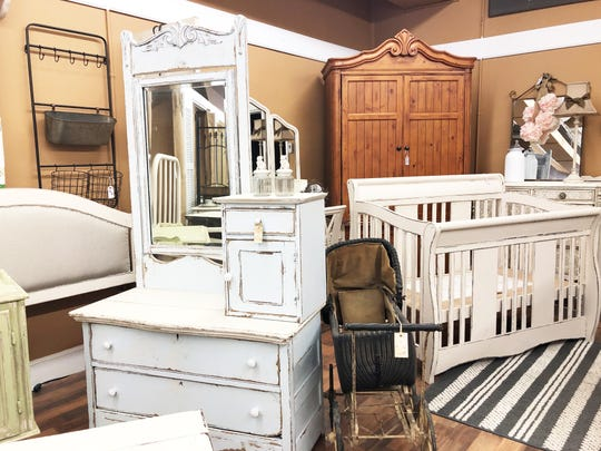 Ginger Lay has filled her store with just some of the items she has collected over the past 10 years. House of Painted Furniture, Fountain City, March 28, 2019.