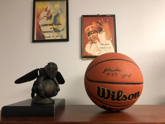 A basketball signed by Jordan Bowden sits in Carter High School Principal Angie Messer's office.