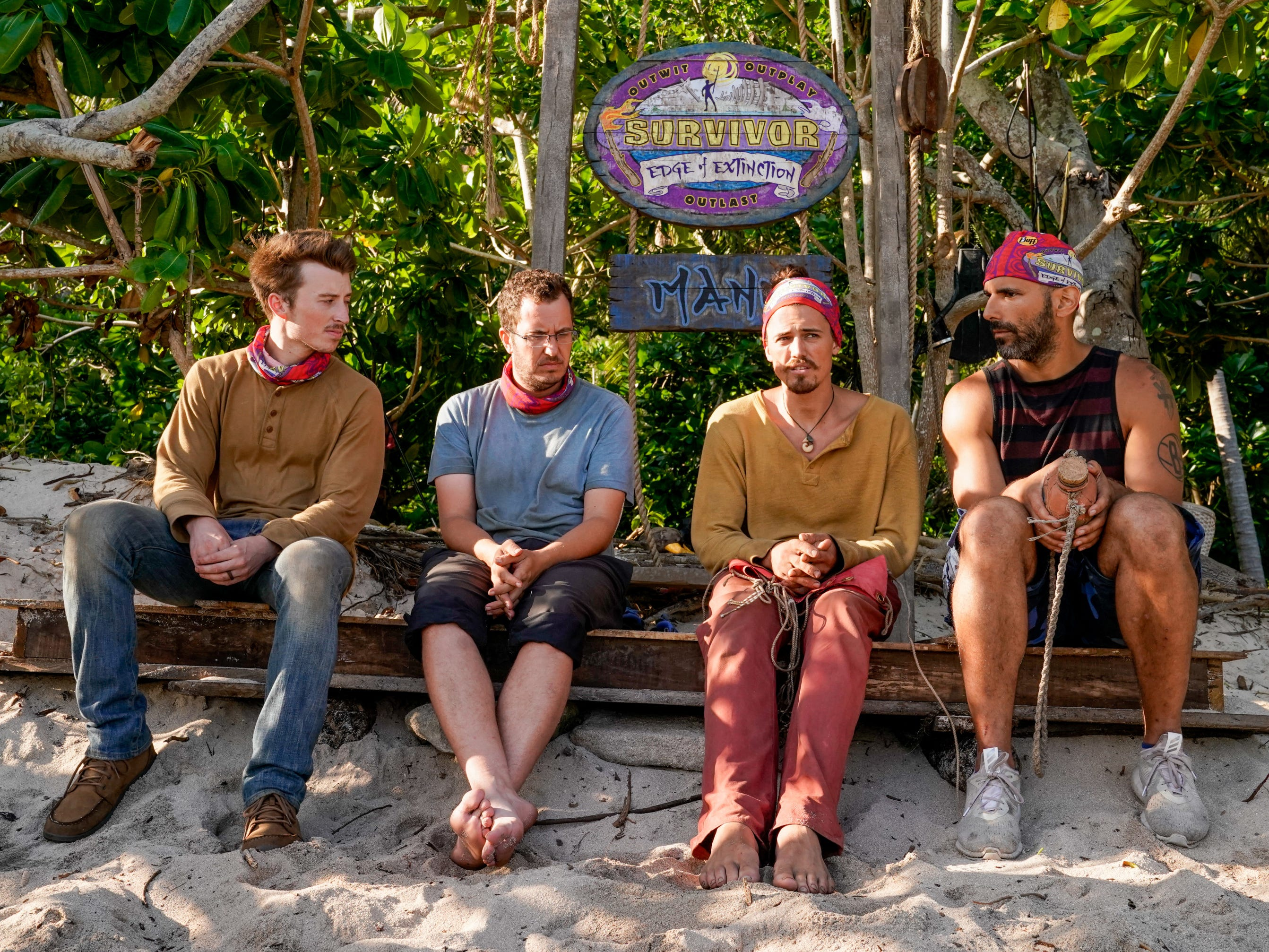 "From left are Gavin Whitson, Rick Devens, Joe Anglim and Dan ""Wardog"" Dasilva on ""Survivor: Edge of Extinction."""