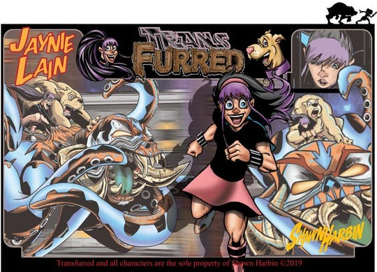 """Pictured are illustrations from the """"Transfurred"""" comic book, which focuses on the life of a 12-year-old transgender detective."""