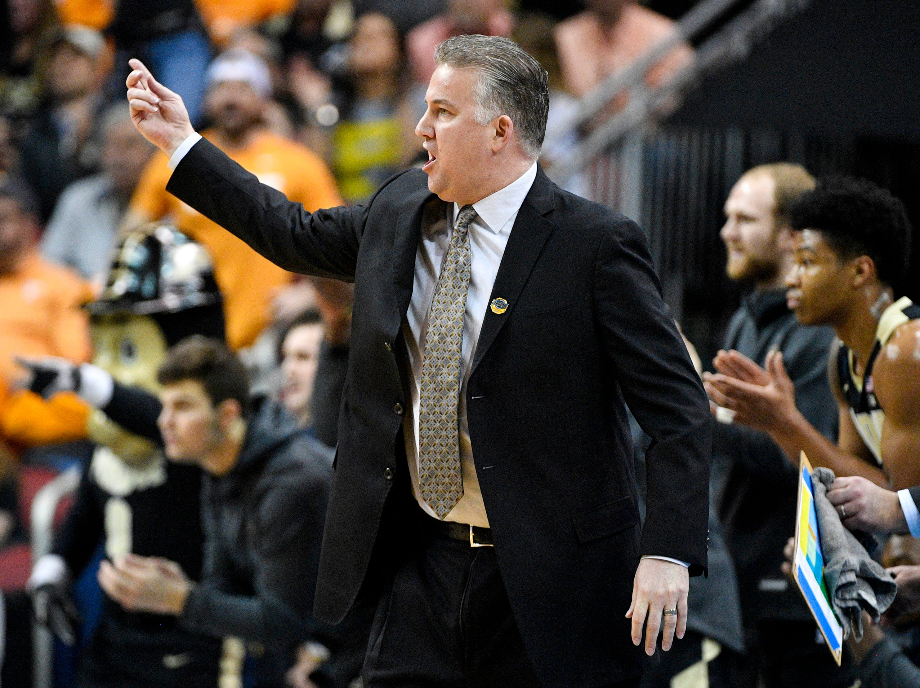 Mar 28, 2019; Louisville, KY, United States; Purdue Boilermakers head coach Matt Painter reacts during the first half against the Tennessee Volunteers in the semifinals of the south regional of the 2019 NCAA Tournament at KFC Yum Center. Mandatory Credit: Jamie Rhodes-USA TODAY Sports