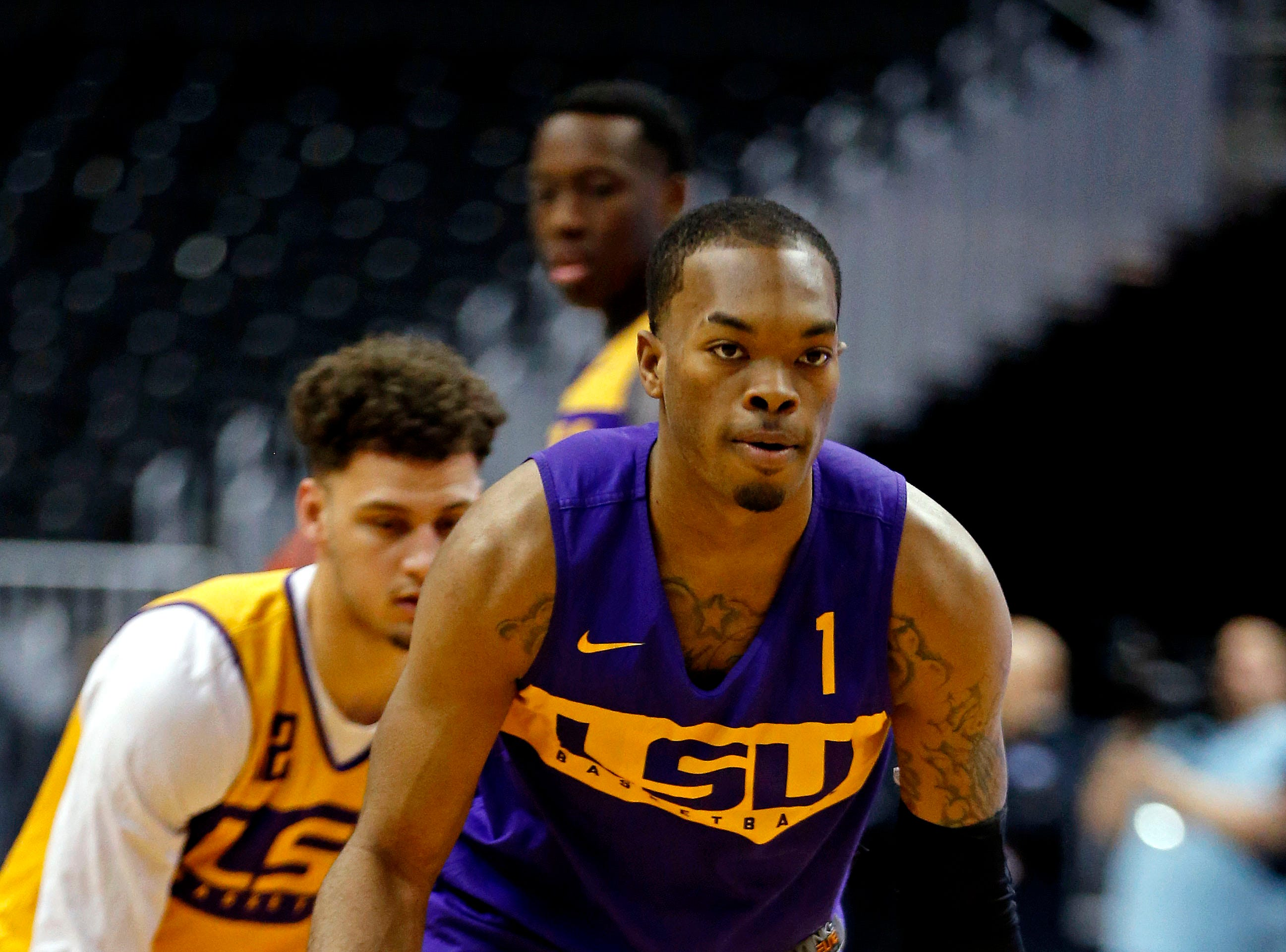 Mar 28, 2019; Washington, DC, USA; LSU Tigers guard Javonte Smart (1) handles the ball during practice for the east regional of the 2019 NCAA Tournament at Capital One Arena. Mandatory Credit: Amber Searls-USA TODAY Sports