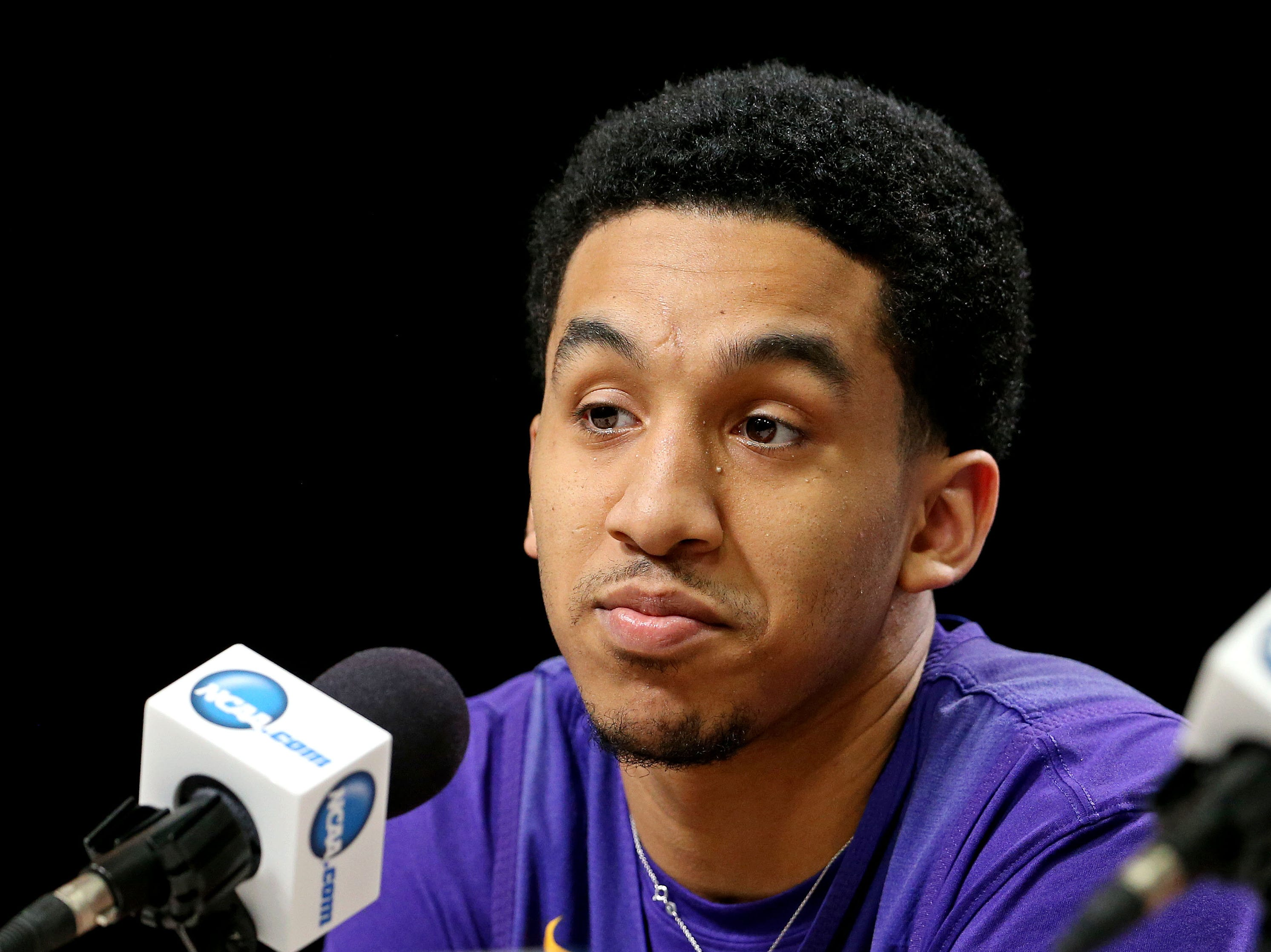 Mar 28, 2019; Washington, DC, USA; LSU Tigers guard Tremont Waters (3) speaks in a press conference during practice for the east regional of the 2019 NCAA Tournament at Capital One Arena. Mandatory Credit: Peter Casey-USA TODAY Sports
