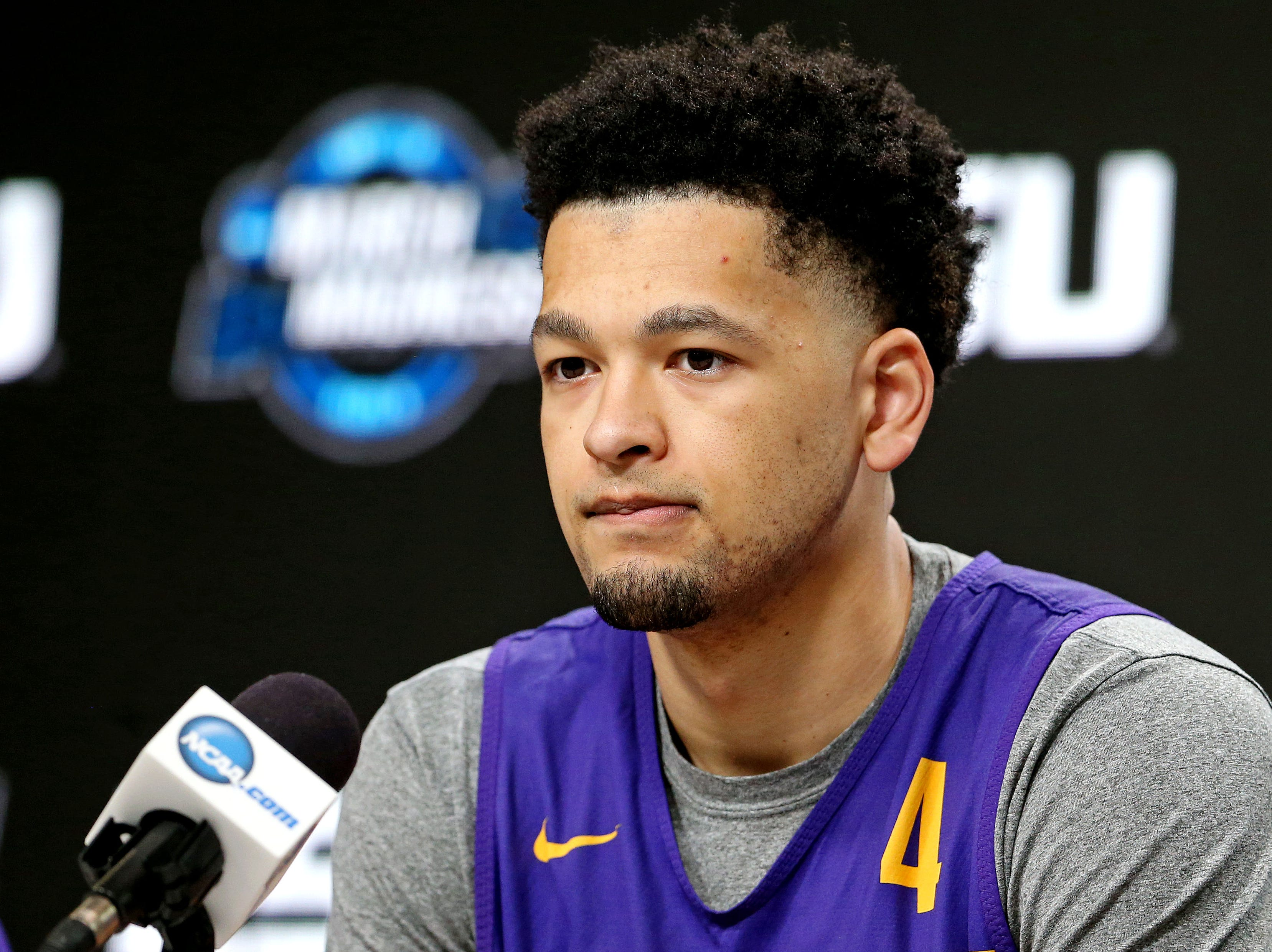 Mar 28, 2019; Washington, DC, USA; LSU Tigers guard Skylar Mays (4) speaks in a press conference during practice for the east regional of the 2019 NCAA Tournament at Capital One Arena. Mandatory Credit: Peter Casey-USA TODAY Sports