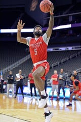 Mar 28, 2019; Kansas City, MO, United States; Houston Cougars guard Corey Davis Jr. (5) during practice for the midwest regional of the 2019 NCAA Tournament at Sprint Center. Mandatory Credit: Denny Medley-USA TODAY Sports