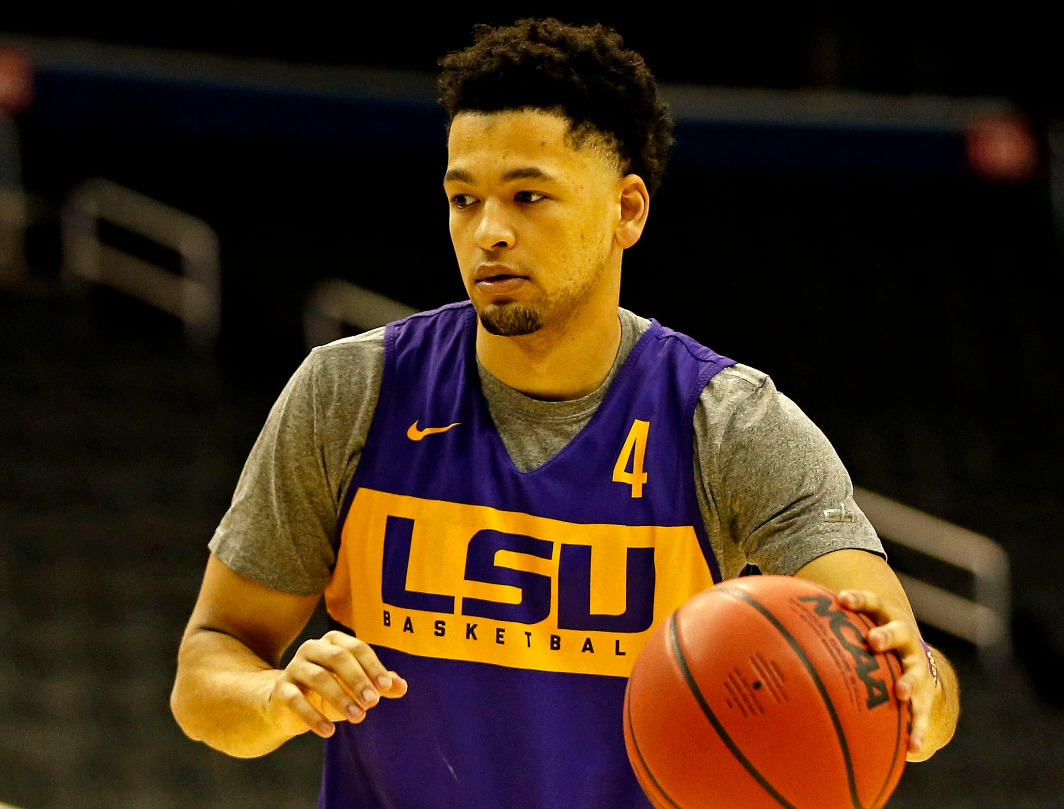 Mar 28, 2019; Washington, DC, USA; LSU Tigers guard Skylar Mays (4) handles the ball during practice for the east regional of the 2019 NCAA Tournament at Capital One Arena. Mandatory Credit: Amber Searls-USA TODAY Sports