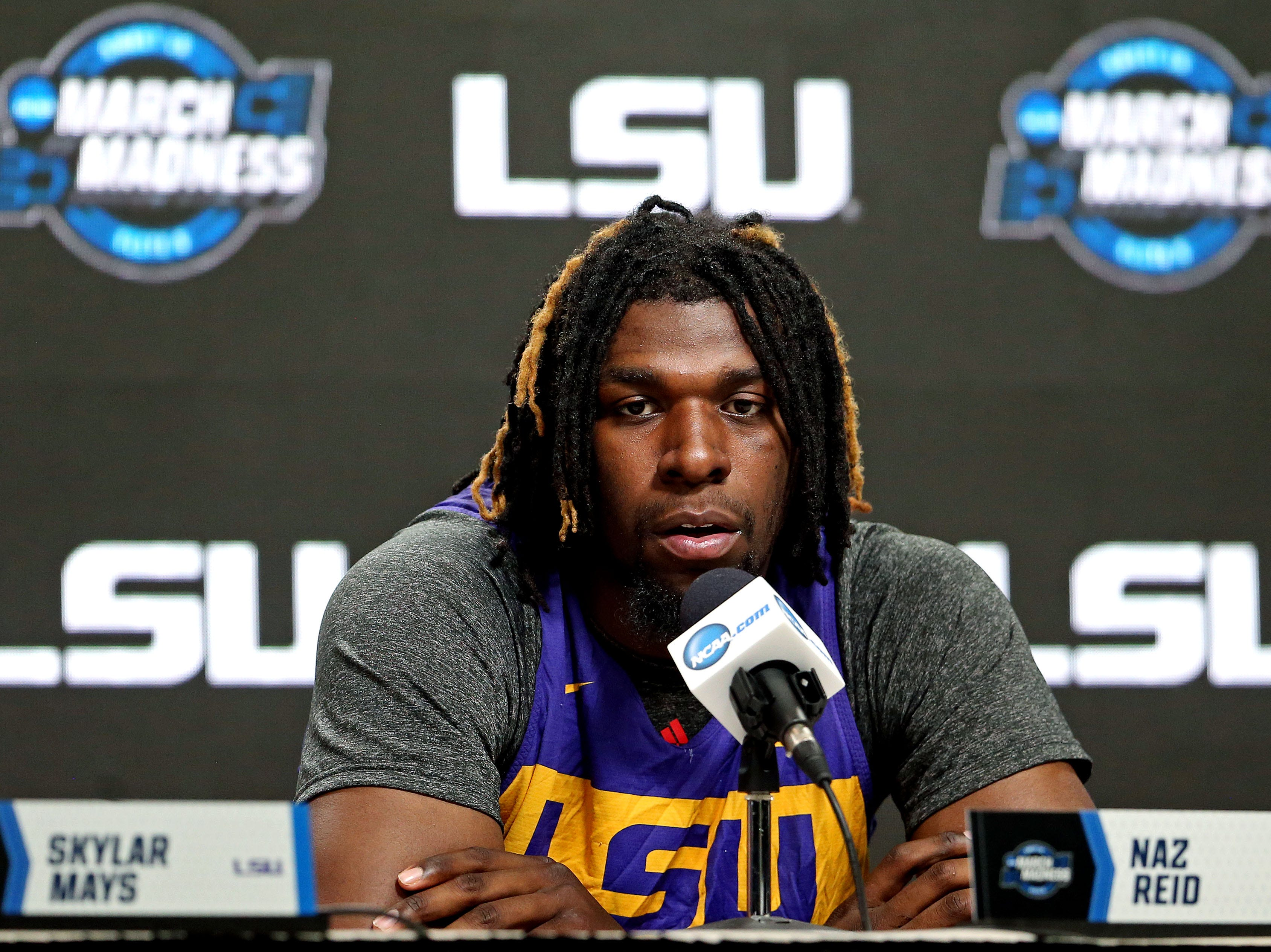 Mar 28, 2019; Washington, DC, USA; LSU Tigers forward Naz Reid (0) speaks in a press conference during practice for the east regional of the 2019 NCAA Tournament at Capital One Arena. Mandatory Credit: Peter Casey-USA TODAY Sports