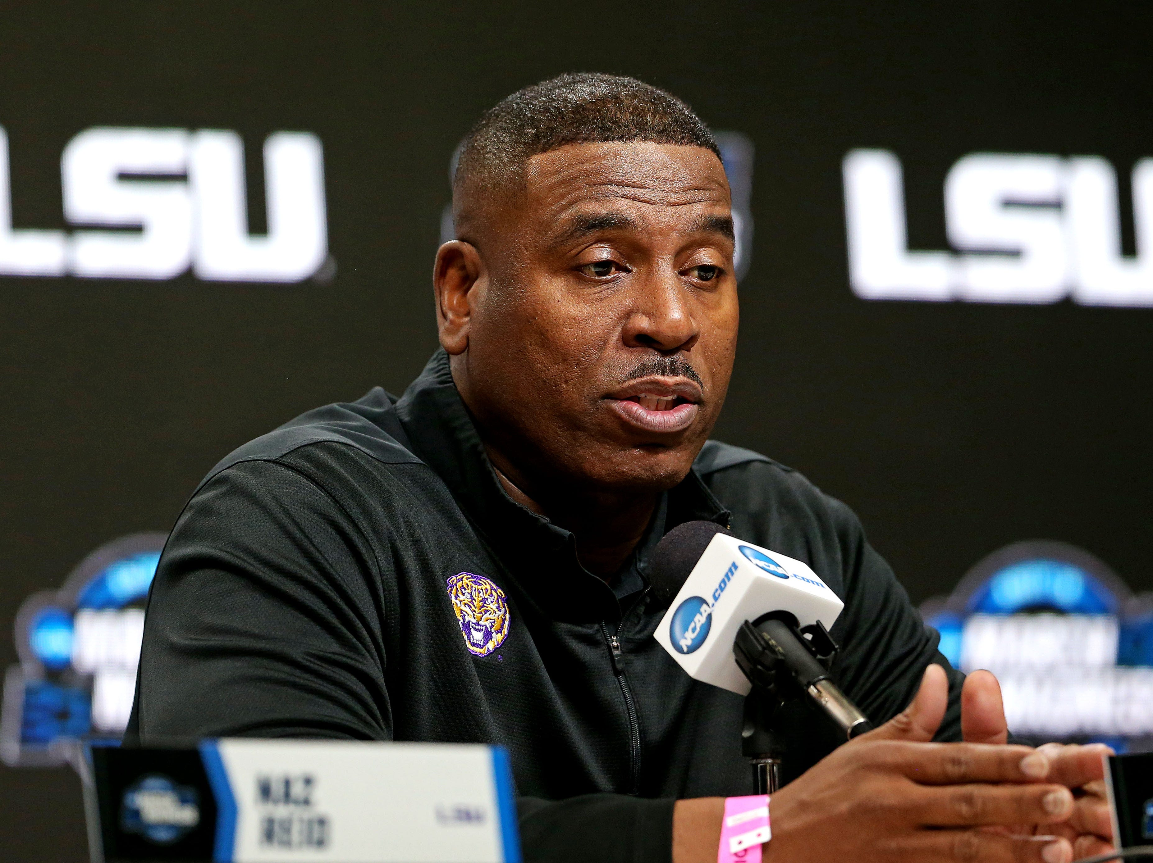 Mar 28, 2019; Washington, DC, USA; LSU Tigers interim head coach Tony Benford speaks in a press conference during practice for the east regional of the 2019 NCAA Tournament at Capital One Arena. Mandatory Credit: Peter Casey-USA TODAY Sports