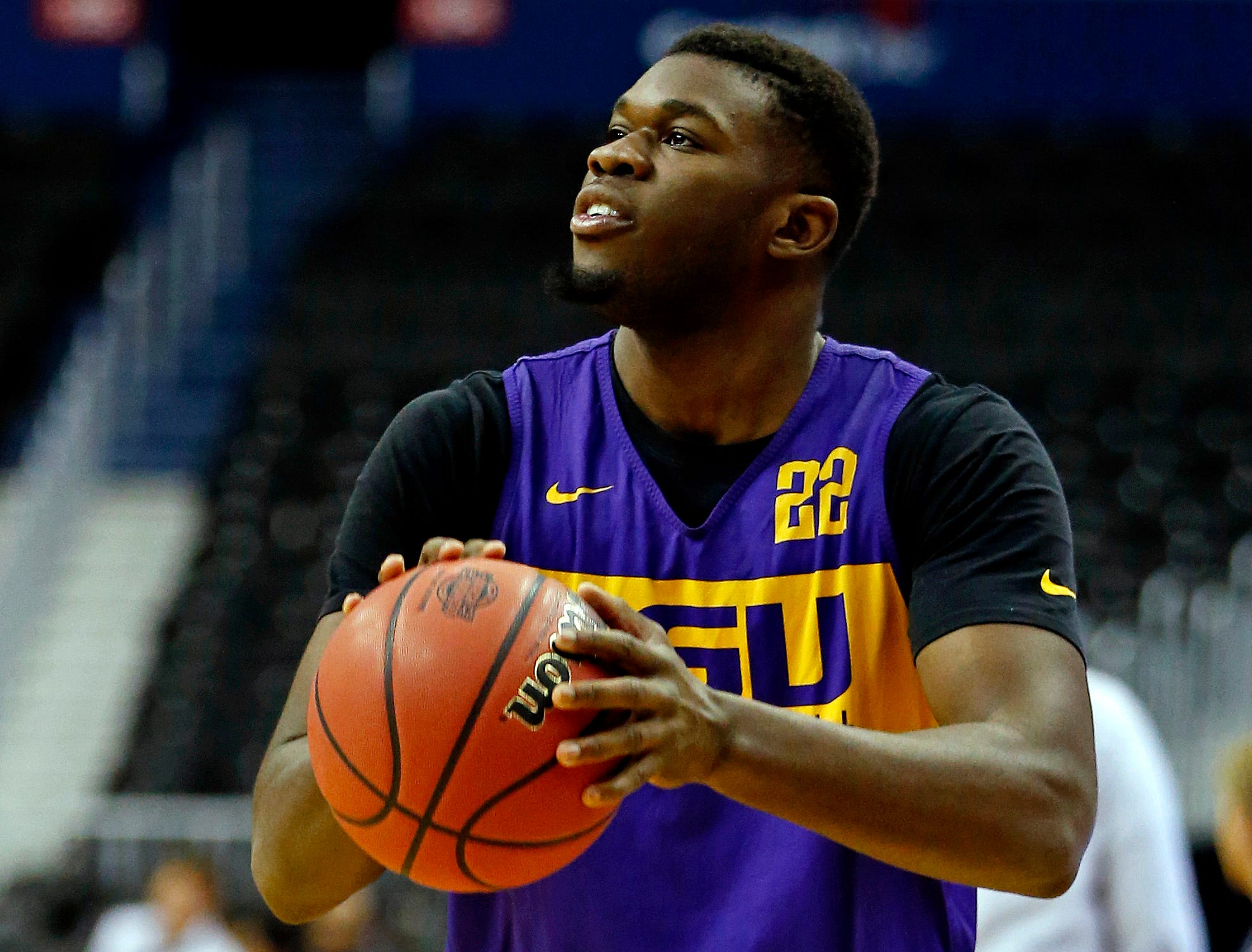 Mar 28, 2019; Washington, DC, USA; LSU Tigers forward Darius Days (22) shoots the ball during practice for the east regional of the 2019 NCAA Tournament at Capital One Arena. Mandatory Credit: Amber Searls-USA TODAY Sports