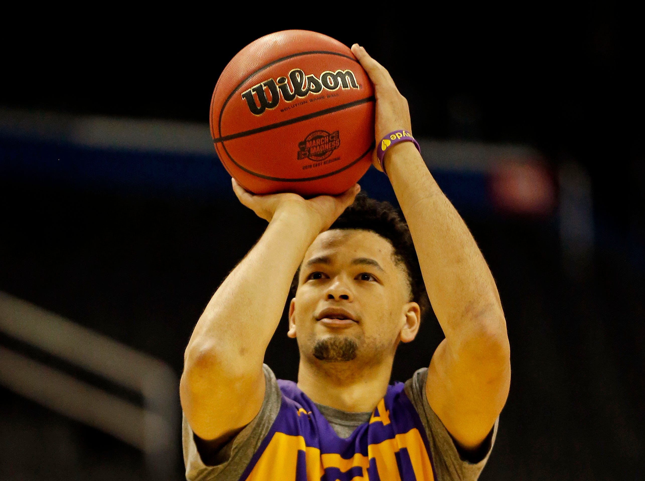 Mar 28, 2019; Washington, DC, USA; LSU Tigers guard Skylar Mays (4) shoots the ball during practice for the east regional of the 2019 NCAA Tournament at Capital One Arena. Mandatory Credit: Amber Searls-USA TODAY Sports