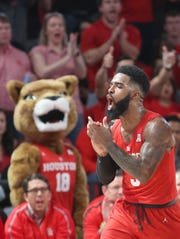 Houston Cougars guard Corey Davis Jr. (5) reacts after making a defensive play against the UCF Knights on March 2 in Houston.