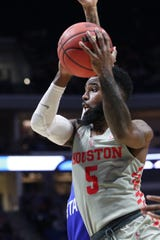 Mar 22, 2019; Tulsa, OK, USA; Houston Cougars guard Corey Davis Jr. (5) shoots against the Georgia State Panthers during the first half in the first round of the 2019 NCAA Tournament at BOK Center. Mandatory Credit: Brett Rojo-USA TODAY Sports