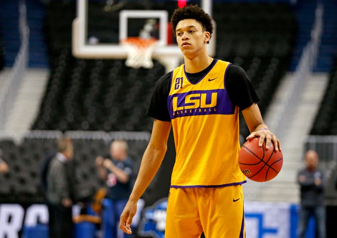 Mar 28, 2019; Washington, DC, USA; LSU Tigers forward Courtese Cooper (21) handles the ball during practice for the east regional of the 2019 NCAA Tournament at Capital One Arena. Mandatory Credit: Amber Searls-USA TODAY Sports
