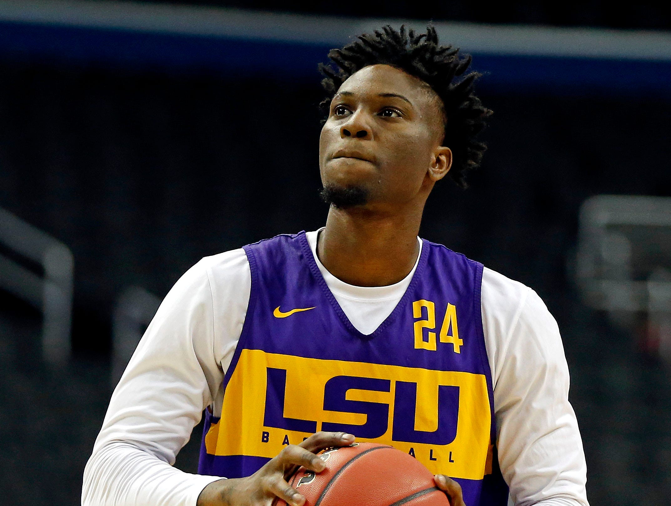 Mar 28, 2019; Washington, DC, USA; LSU Tigers forward Emmitt Williams (24) shoots the ball during practice for the east regional of the 2019 NCAA Tournament at Capital One Arena. Mandatory Credit: Amber Searls-USA TODAY Sports