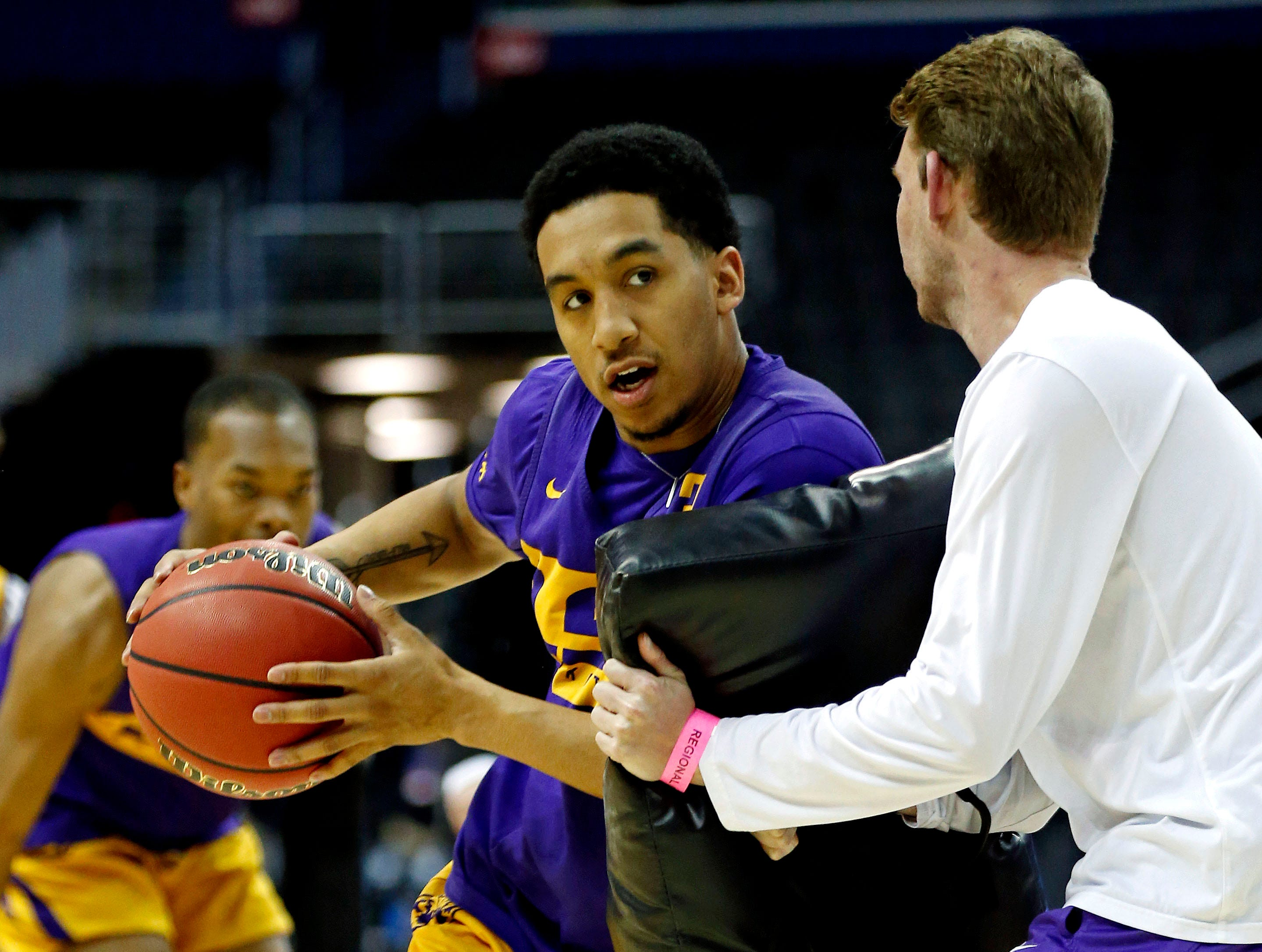 Mar 28, 2019; Washington, DC, USA; LSU Tigers guard Tremont Waters (3) handles the ball during practice for the east regional of the 2019 NCAA Tournament at Capital One Arena. Mandatory Credit: Amber Searls-USA TODAY Sports