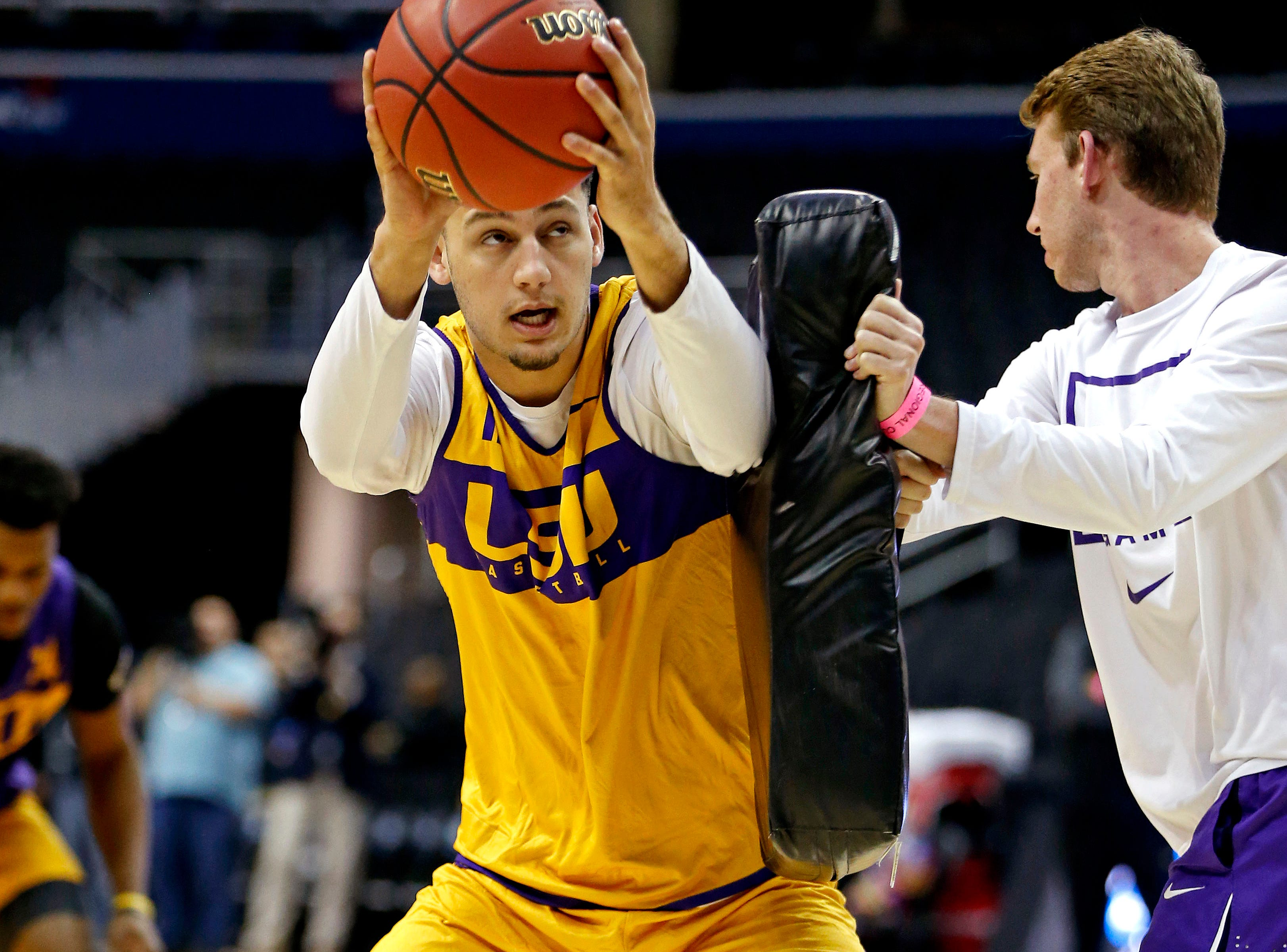 Mar 28, 2019; Washington, DC, USA; LSU Tigers guard Marshall Graves (12) handles the ball during practice for the east regional of the 2019 NCAA Tournament at Capital One Arena. Mandatory Credit: Amber Searls-USA TODAY Sports