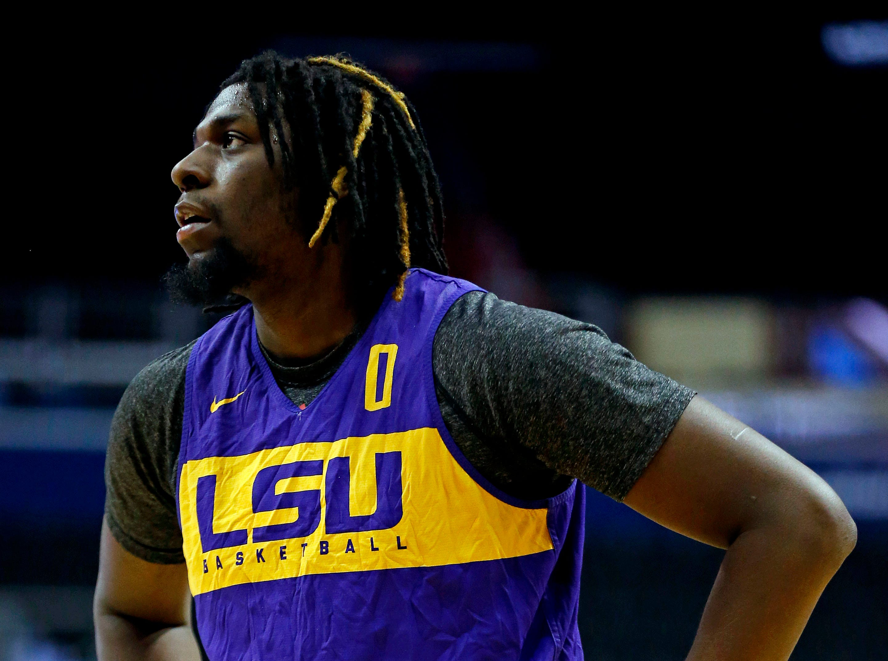 Mar 28, 2019; Washington, DC, USA; LSU Tigers forward Naz Reid (0) during practice for the east regional of the 2019 NCAA Tournament at Capital One Arena. Mandatory Credit: Amber Searls-USA TODAY Sports