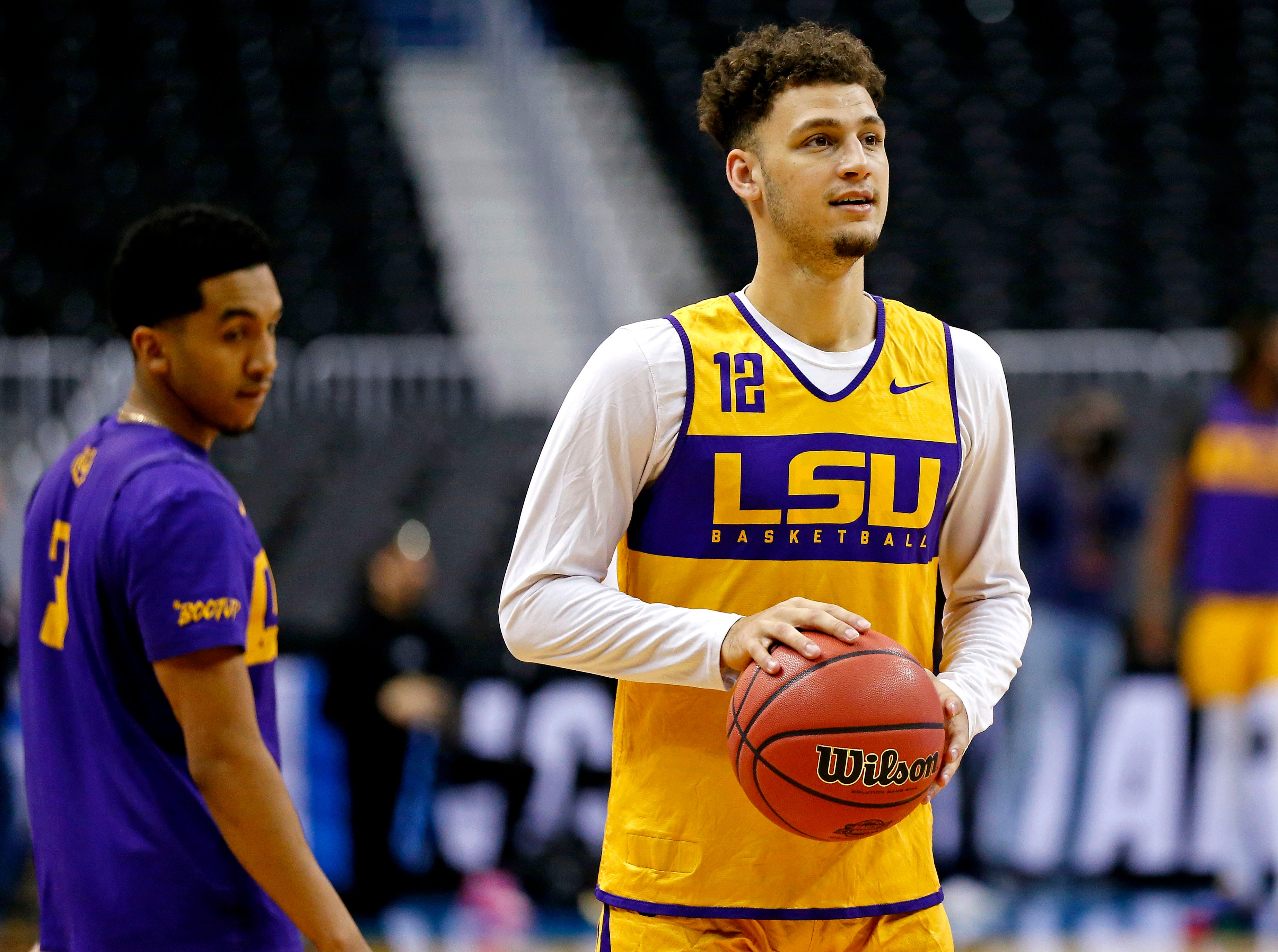 Mar 28, 2019; Washington, DC, USA; LSU Tigers guard Marshall Graves (12) shoots the ball during practice for the east regional of the 2019 NCAA Tournament at Capital One Arena. Mandatory Credit: Amber Searls-USA TODAY Sports