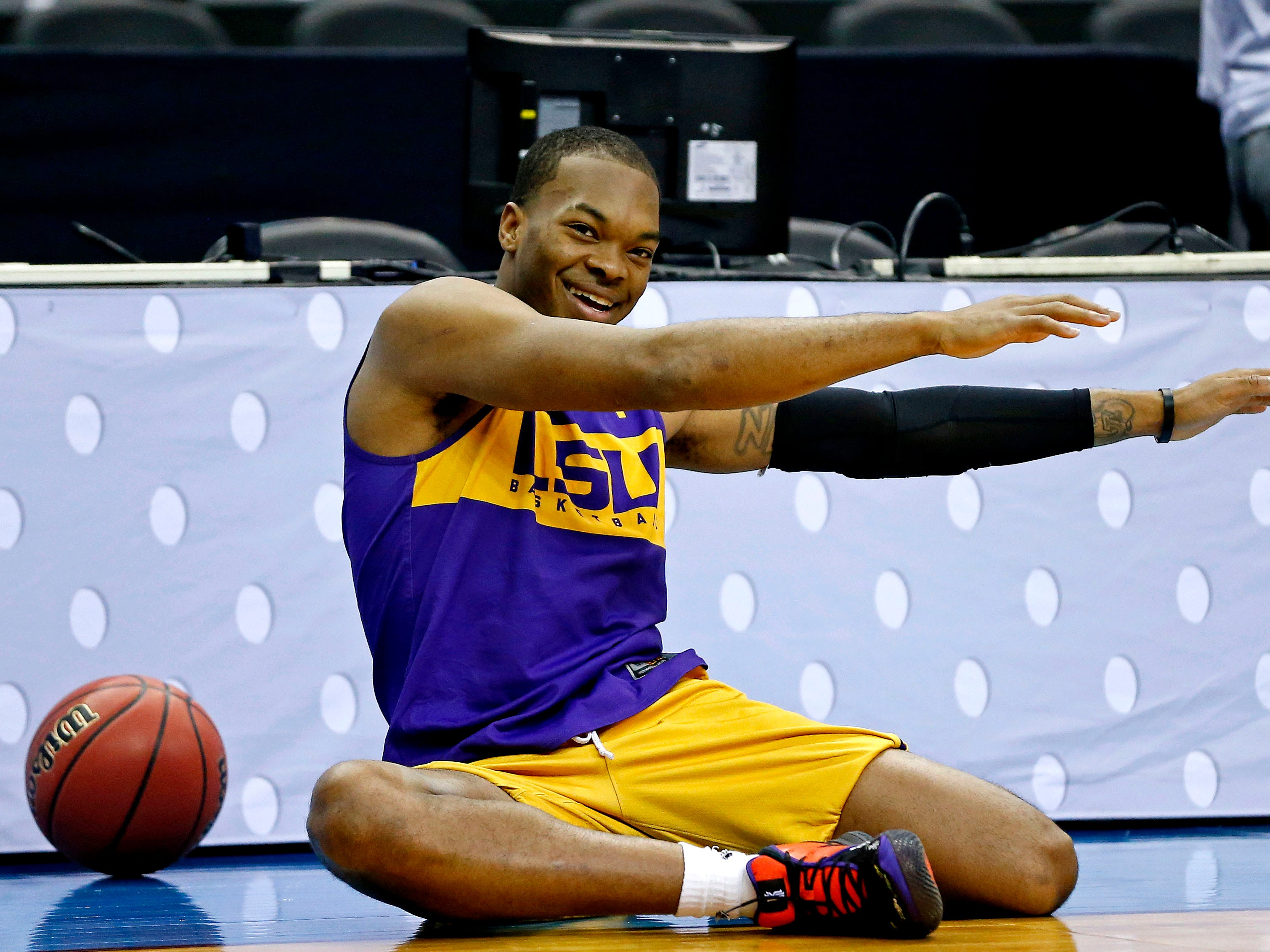 Mar 28, 2019; Washington, DC, USA; LSU Tigers guard Javonte Smart (1) during practice for the east regional of the 2019 NCAA Tournament at Capital One Arena. Mandatory Credit: Amber Searls-USA TODAY Sports
