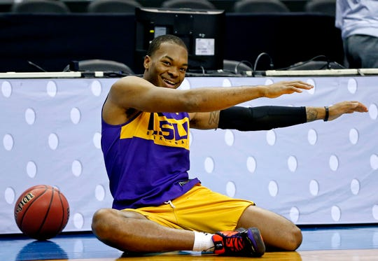 LSU Tigers' guard Javonte Smart, here enjoying practice Thursday in Washington, D.C., ahead of LSU's Sweet 16 game against MSU, is at the center of a scandal that has the Tigers' head coach suspended.