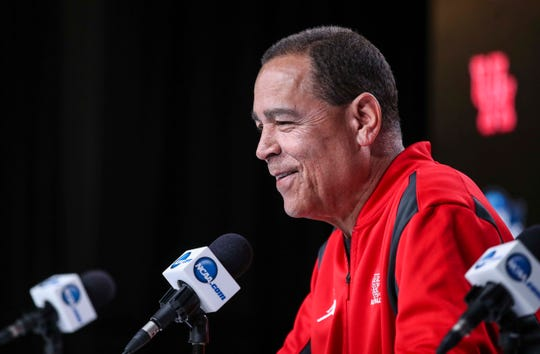 Houston head coach Kelvin Sampson speaks to the media Thursday afternoon before the Midwest Regional Sweet 16 game against Kentucky. Sampson coached at Indiana from 2006 to 2008 before being forced to resign due to NCAA violations. Sampson received a five-year show-cause penalty. March 28, 2019