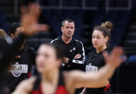 U of L head coach Jeff Walz observed practice as the team ran drills ahead of their matchup with Oregon State at the Sweet 16 in Albany, N.Y. March 28, 2019