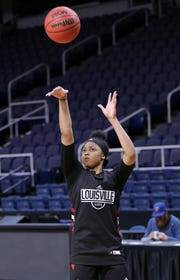 Arica Carter puts up a shot in practice Thursday ahead of Friday's clash vs. Oregon State.