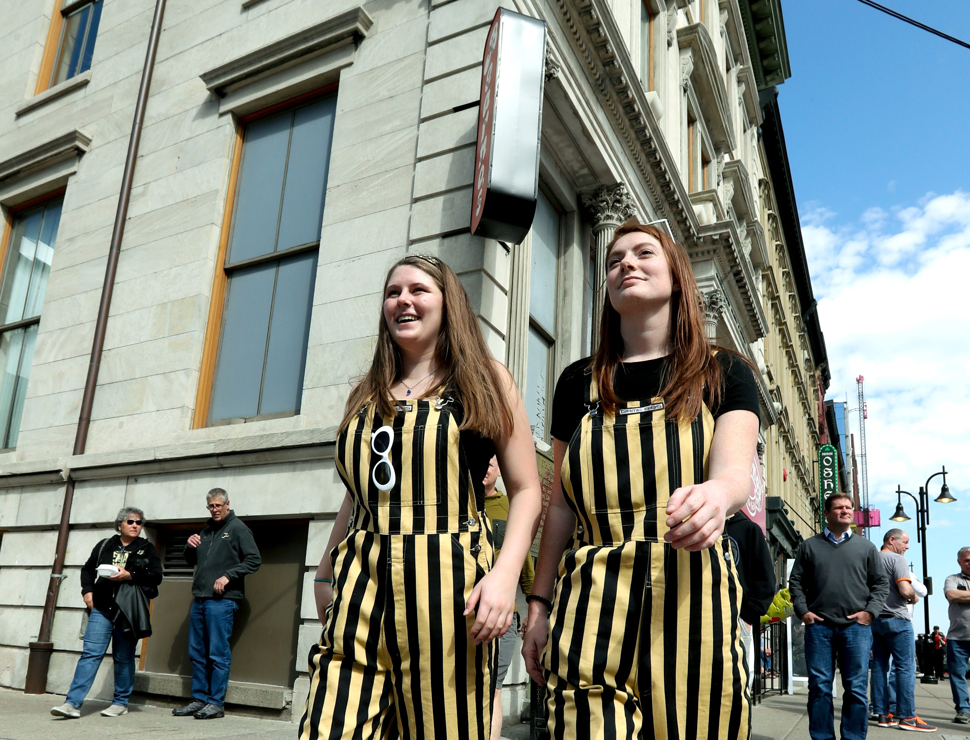 Purdue students Katie Larrabee and Madison Green walk around downtown Louisville on March 28. They are in town to watch their Boilermakers take on the Tennessee Volunteers in the NCAA Sweet 16.