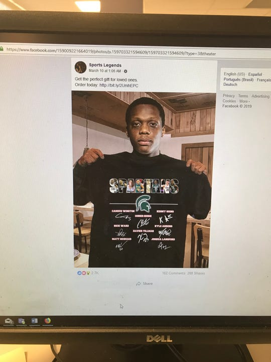 A photo of a Facebook post using Cassius Winston's altered likeness to market an unlicensed T-shirt